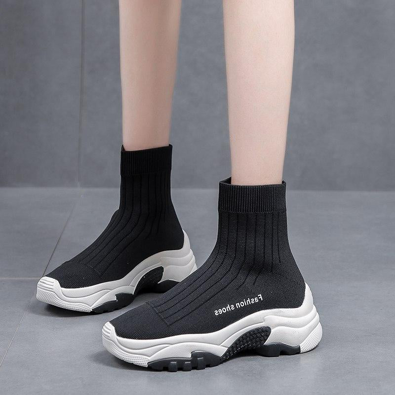 High Top Platform Fall Winter Stretch Knit Thick Sole Chunky Shoes -  AboutTheSHOES