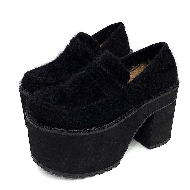 Block Heel Shoes Platform Shearling Fur Ladies Casual Shoes -  AboutTheSHOES