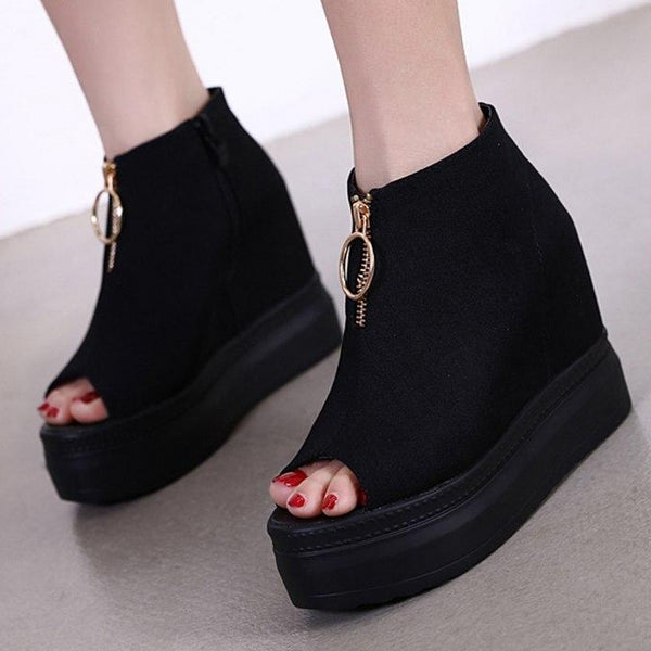 Zipper Wedge Heel Ladies Boots Suede Ankle Boots -  AboutTheSHOES