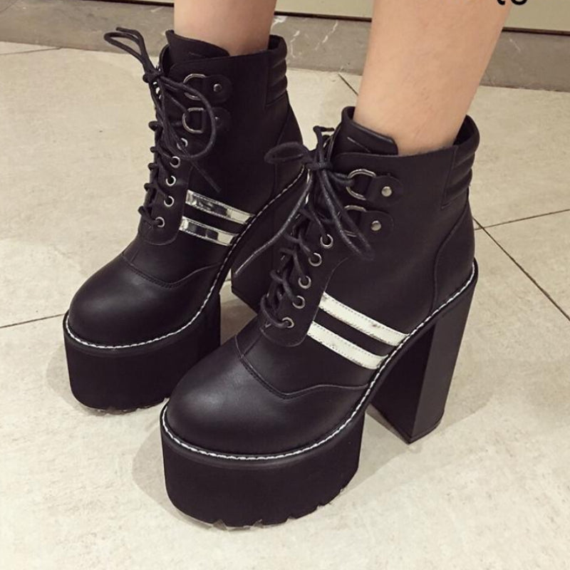 Ankle Boots Platform Heels 15cm Lacing PU Leather -  AboutTheSHOES