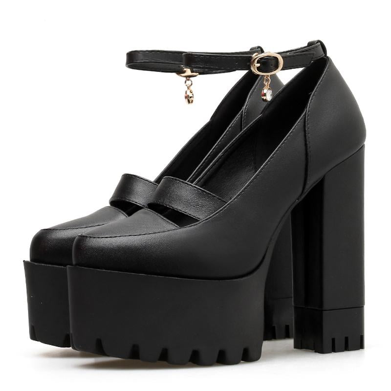 Ankle Strap Block Heels Crystal Rubber Sole Platform High Heels -  AboutTheSHOES