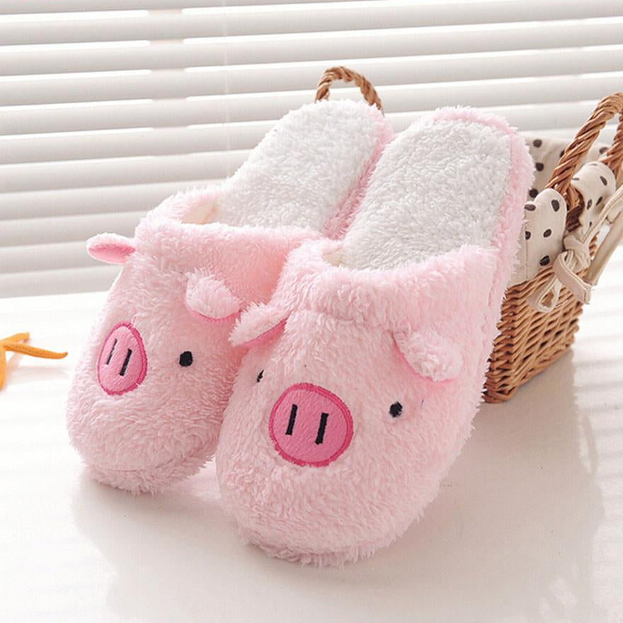 Cute Pig Shape Home Floor Soft Stripe Slippers -  AboutTheSHOES