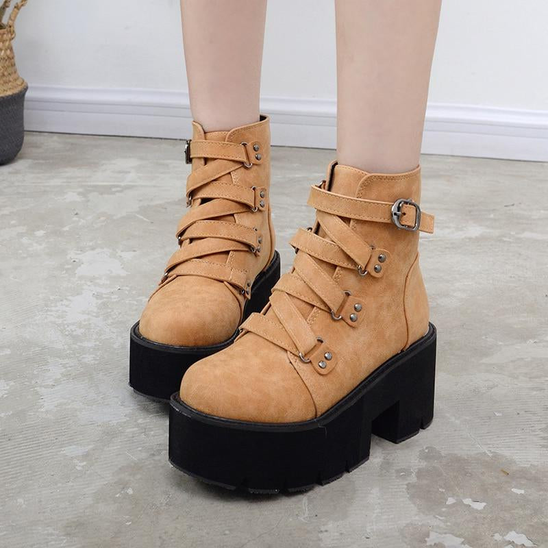 Ankle Boots Women Platform Boots Rubber Sole Buckle -  AboutTheSHOES