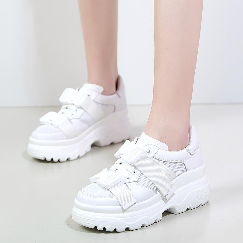 Leather Mesh Platform Buckle Women Dad Walking Shoes Woman -  AboutTheSHOES