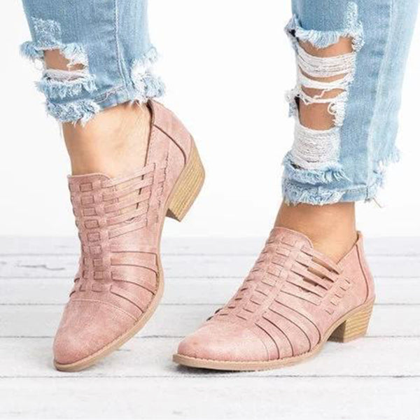 Hollow-out Low Heel Cutout Faux Suede Zipper Ankle Boots -  AboutTheSHOES