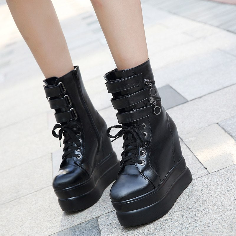 Ankle Wedges Boots Black Boots For Ladies Party Platform -  AboutTheSHOES