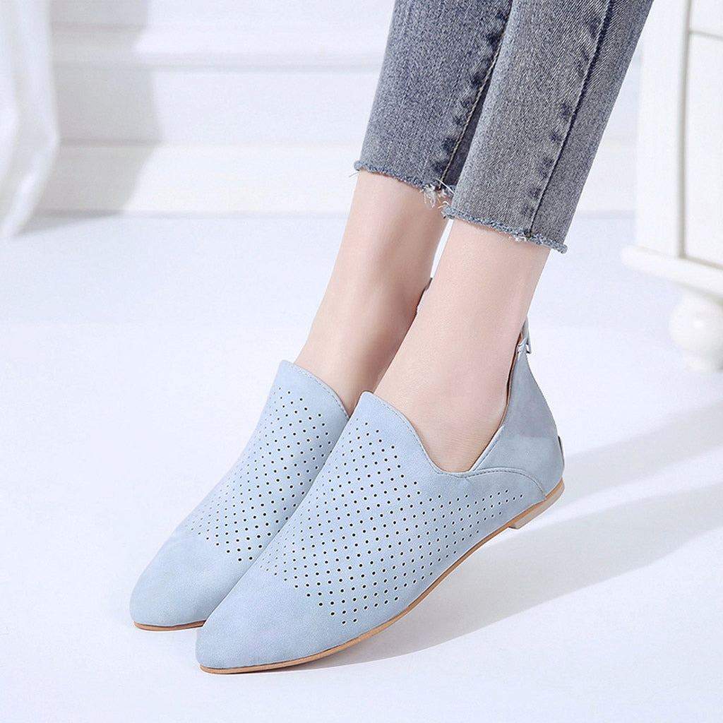 Solid Pointed Toe Flat Hollow Out Roman Flats -  AboutTheSHOES