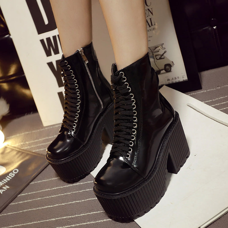 Ankle Boots Platform Punk Gothic Style Rubber Sole Lace Up -  AboutTheSHOES