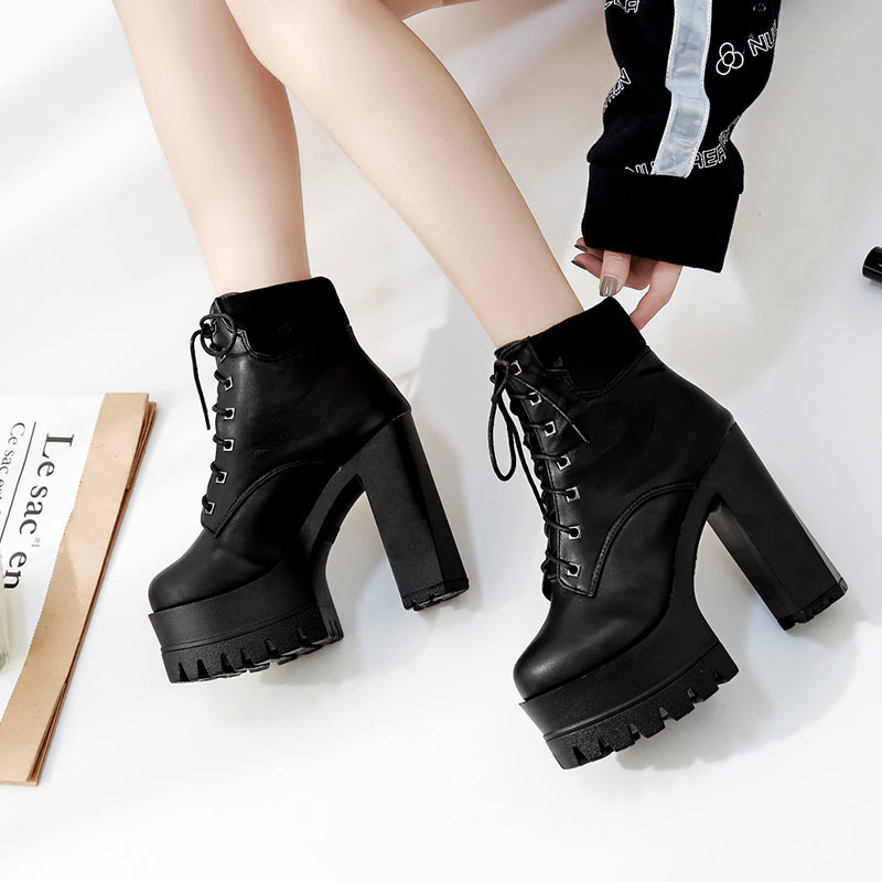 Ankle Boots High Heels Lacing Round Toe Motorcycle -  AboutTheSHOES