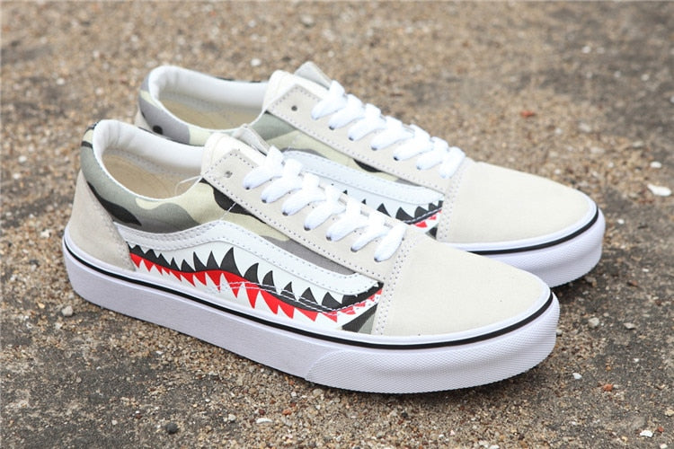 VANS x BAPE 17SS SHARK MOUTHS Sneakers canvas shoes -  AboutTheSHOES