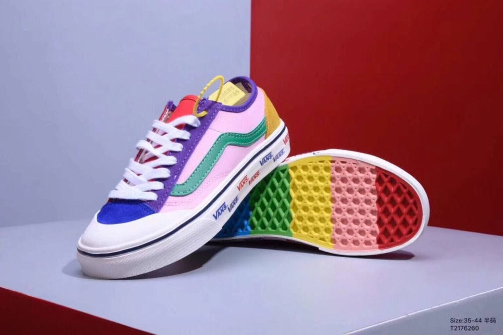 Original Vans Sneakers Canvas Shoes, End Of The Rainbow Joint Shoe Money 7 Colour Stitching -  AboutTheSHOES