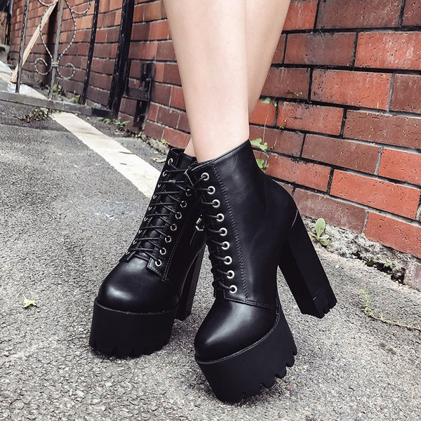 Ankle Boots Buckle Round Toe Lacing High Heel -  AboutTheSHOES