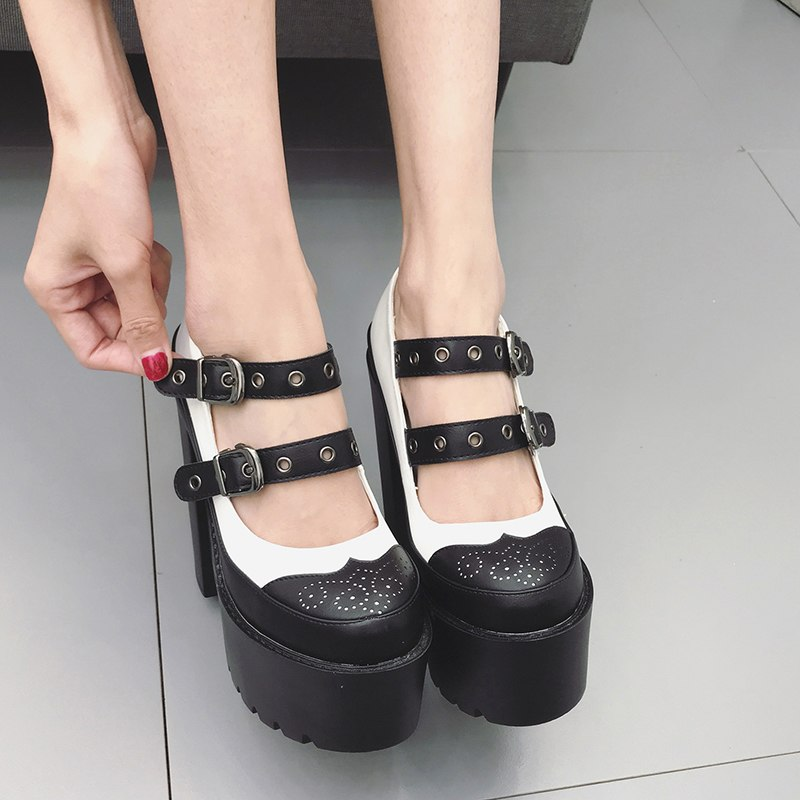 High Heels Shoes Rubber Sole Platform Round Toe -  AboutTheSHOES