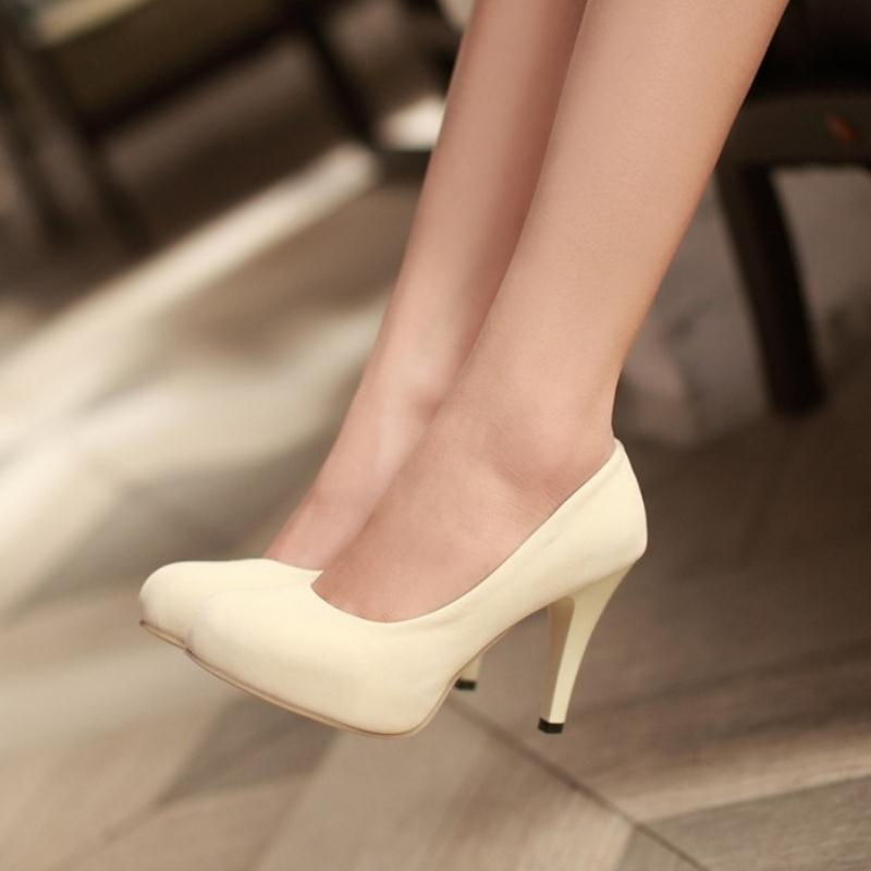 Women Suede Pumps Classic Round Toe Slip On Thin Heel -  AboutTheSHOES