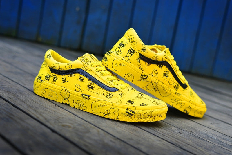 Vans Old Skool Skateboarding Shoes Unisex Yellow Sneakers PEANUTS Cartoon Graffiti Athletic Shoes -  AboutTheSHOES