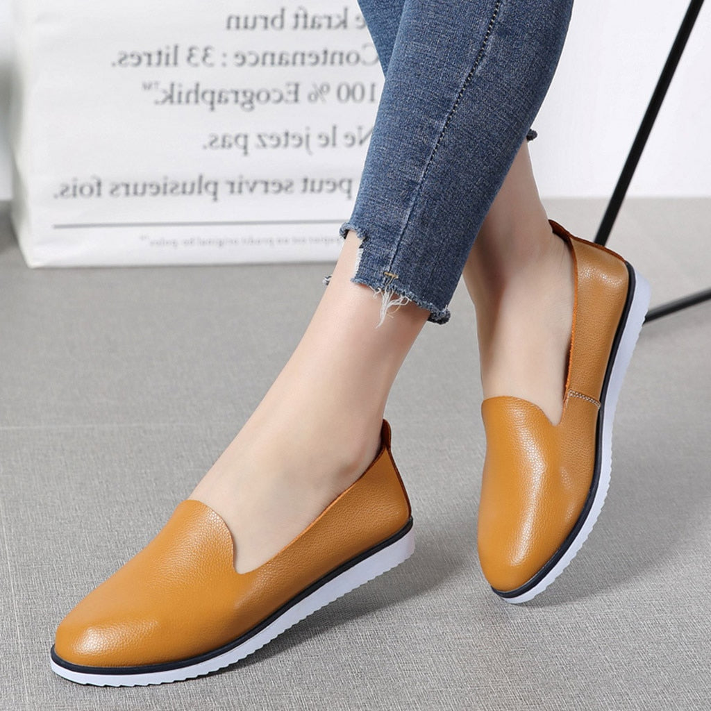 Solid Leather Slip On Ladies Shallow Casual Loafers -  AboutTheSHOES