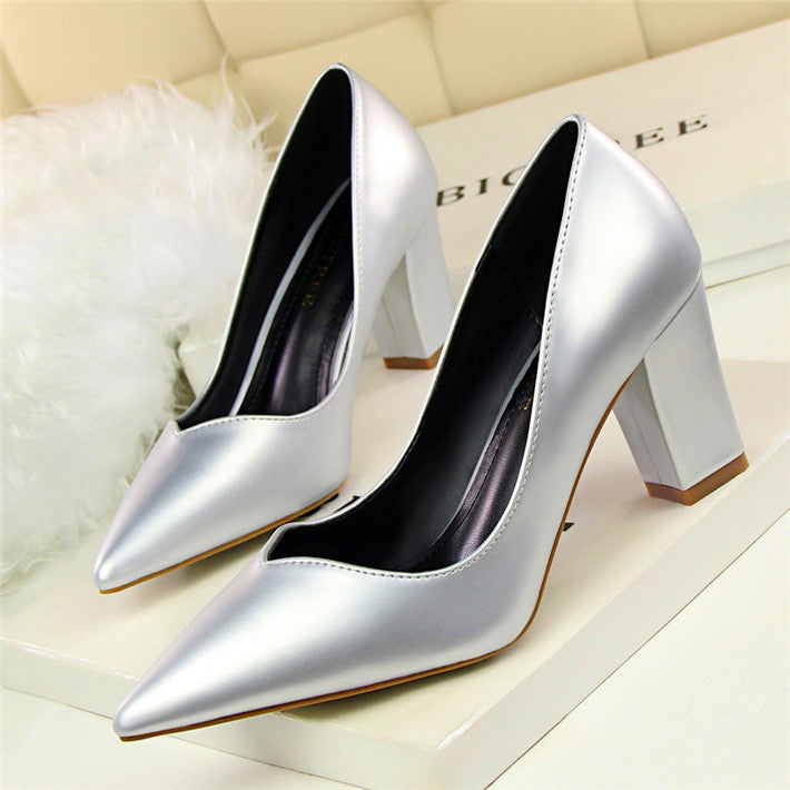 Square Heel Women's Pumps PU Leather High Heels -  AboutTheSHOES
