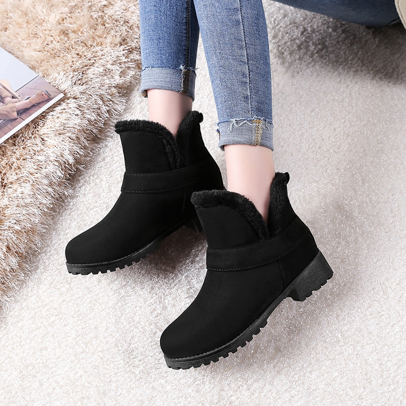 Winter Ankle Boots Warm Plush Snow Boots Shoes Woman -  AboutTheSHOES