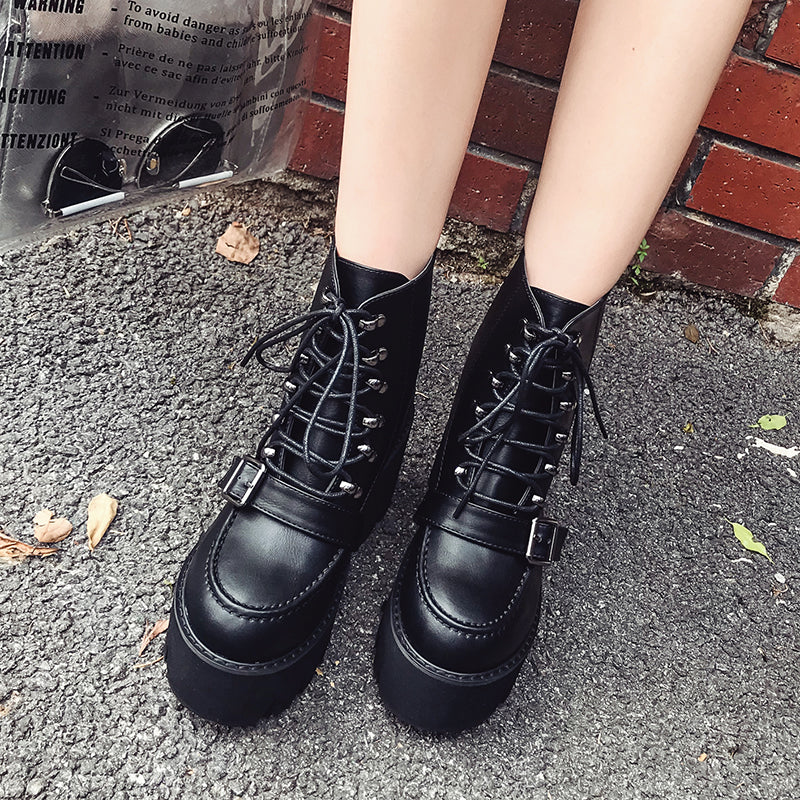 Ankle Boots Thick Heels Lacing Round Toe Back Zipper -  AboutTheSHOES