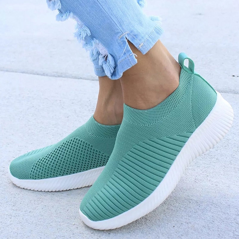 Knitting Slip On Autumn Flat Loafers Lady Comfort Breathable -  AboutTheSHOES