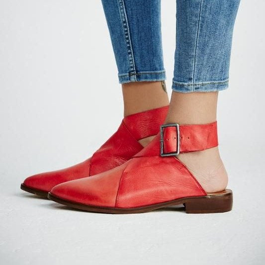 Buckle Pointed Toe Low Square Heels Casual Flats -  AboutTheSHOES
