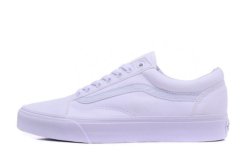 Free Shipping Vans Classic Old Skool All White Low To Help Men's Canvas Shoes -  AboutTheSHOES