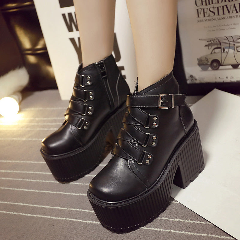 Round Toe Buckle Rubber Sole Platform Ankle Boots -  AboutTheSHOES