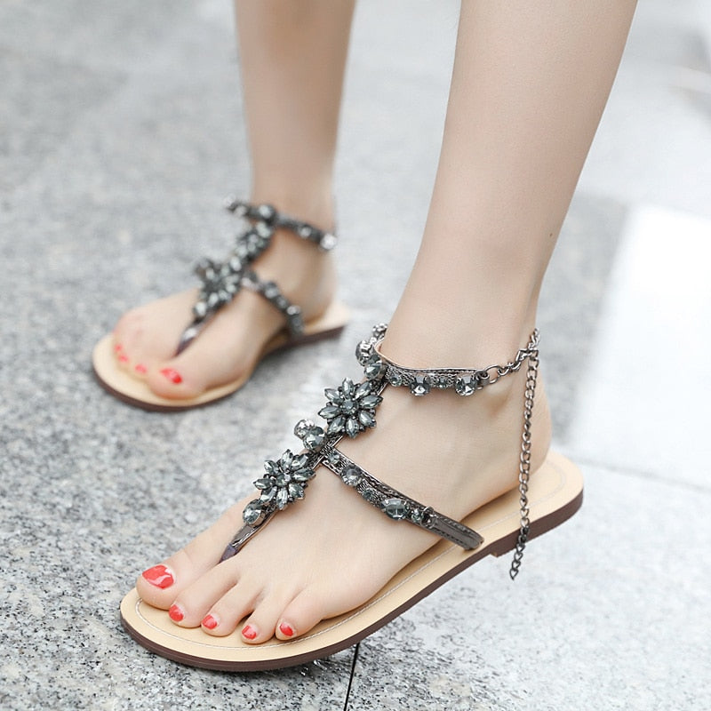 Rhinestones Chains Thong Gladiator Flat Sandals Crystal Chaussure -  AboutTheSHOES