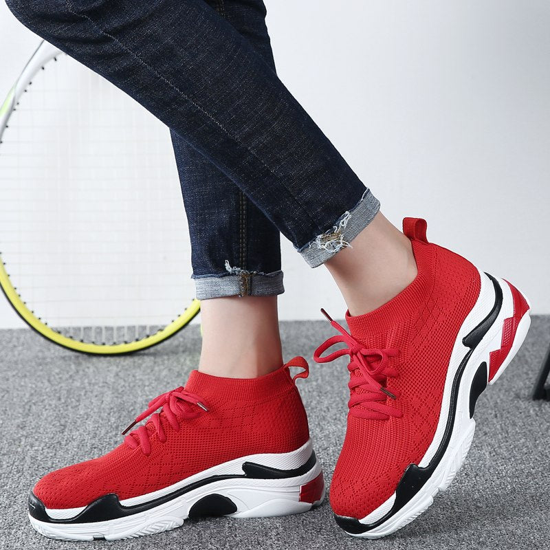 Height Increasing 5 CM Platform Shoes Knit Upper Casual Shoes -  AboutTheSHOES