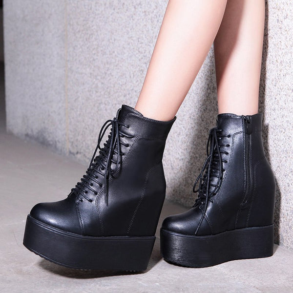 Wedges Ankle Boots Rubber Sole Shoes Platform Boots -  AboutTheSHOES