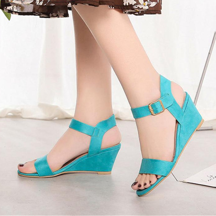Ladies Pumps Buckle Strap Wedges  Sandals Shoes -  AboutTheSHOES
