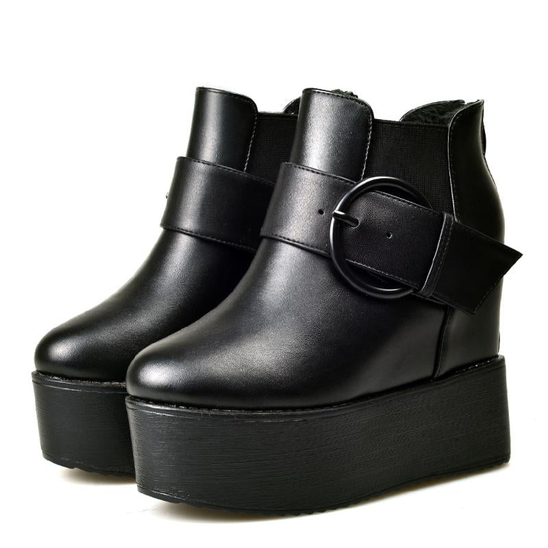 Women Platform Ankle Boots High Heels Back Zipper Wedges -  AboutTheSHOES