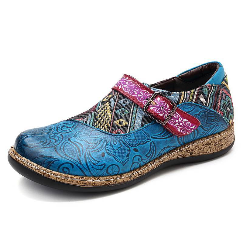 Retro Buckle Strap Splicing Jacquard Pattern Soft Flats -  AboutTheSHOES