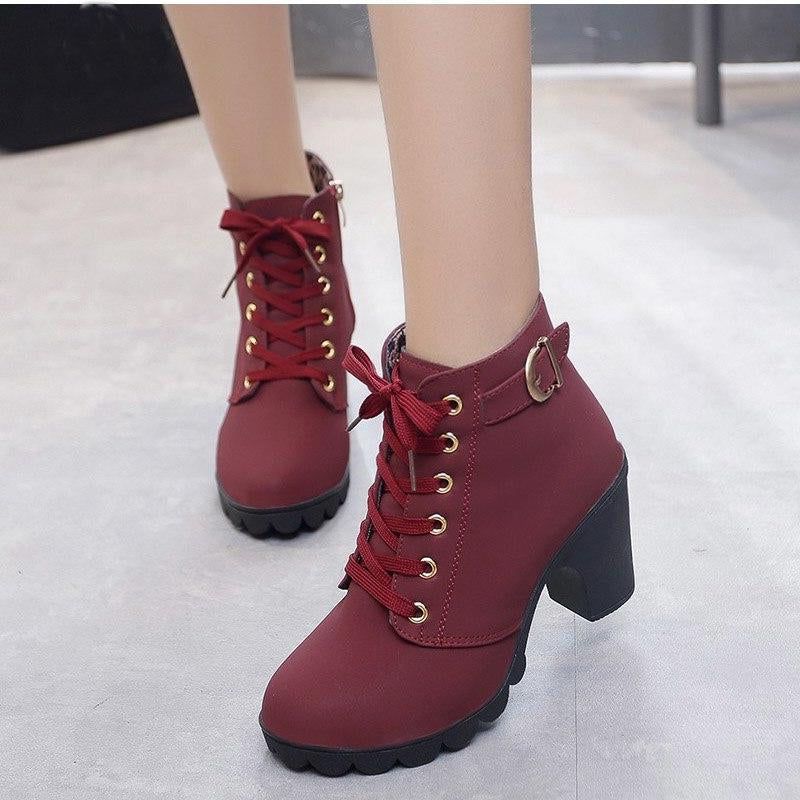 Platform High Heels Buckle Ankle Boots -  AboutTheSHOES