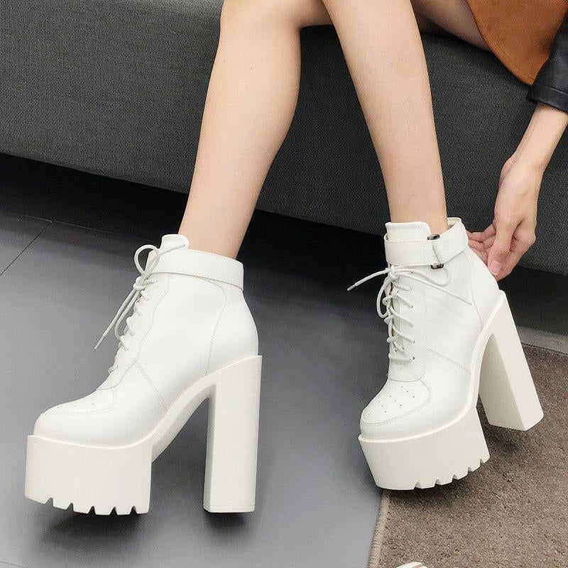Platform Boots Zipper High Heels Lace Up Ankle Boots -  AboutTheSHOES