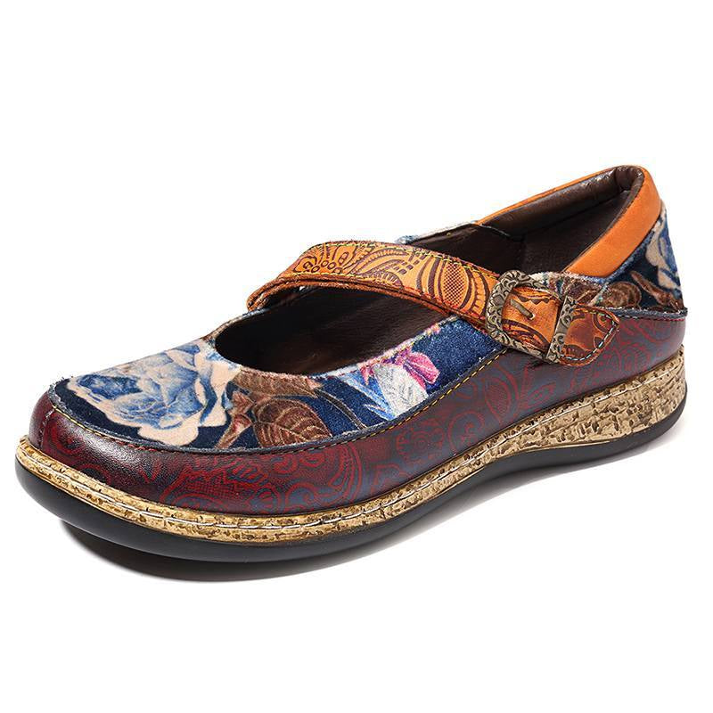 Round Toe Hook Loop Suede Floral Pattern Flats -  AboutTheSHOES