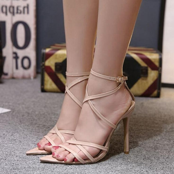 Super High Thin Heels Women Pumps Ankle Cross Strap -  AboutTheSHOES
