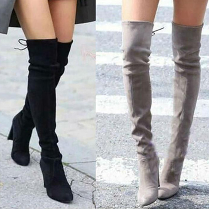 Suede Leather High Heels Over The Knee High Boots -  AboutTheSHOES