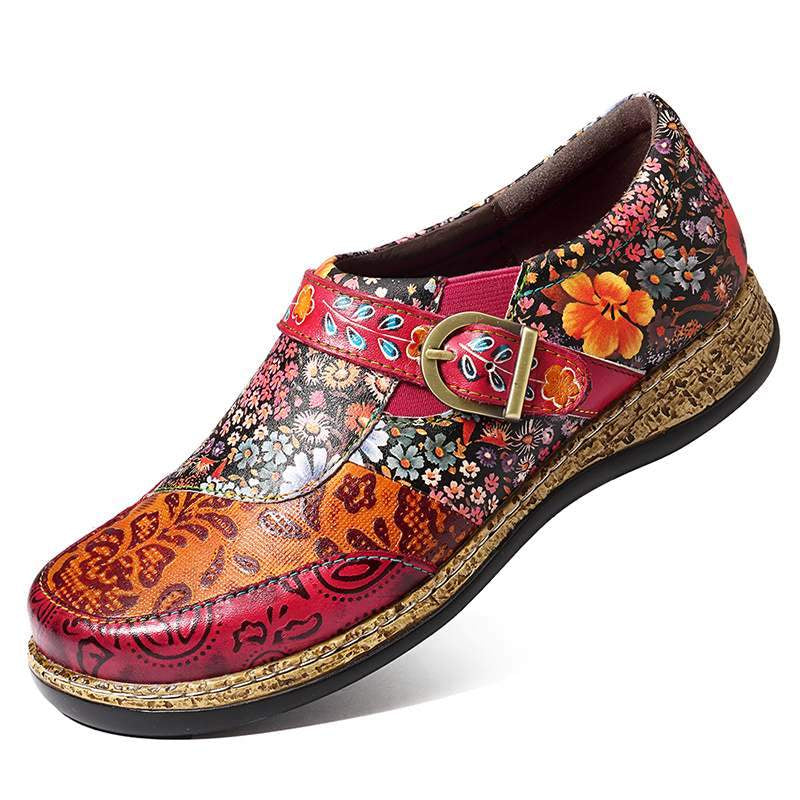 Retro Buckle Fancy Flowers Splicing Stitching Slip On -  AboutTheSHOES