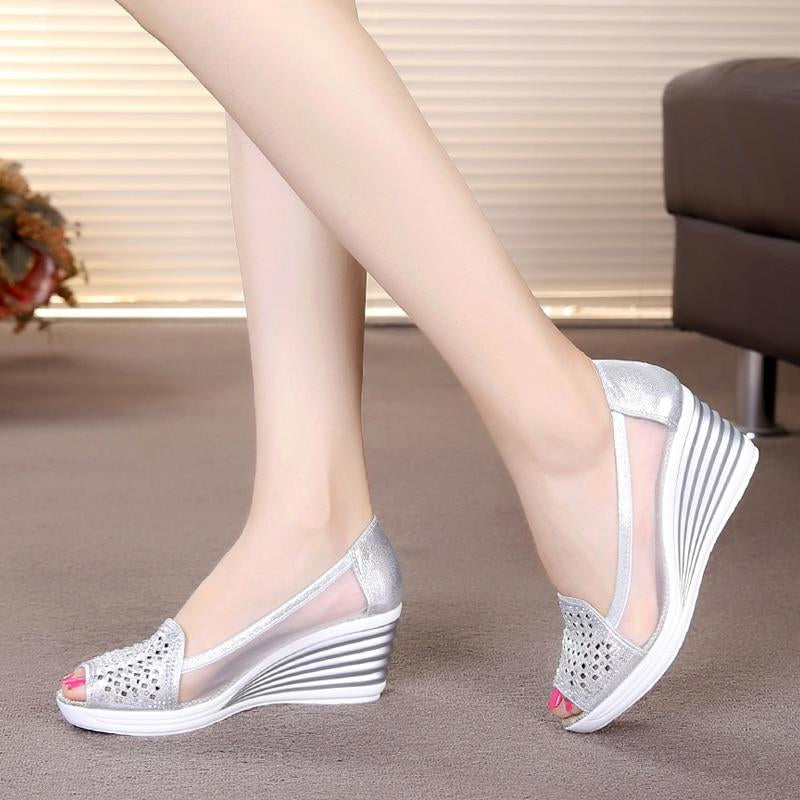 Womens Wedges Shoes Peep Toe Heels Mesh Shoes -  AboutTheSHOES