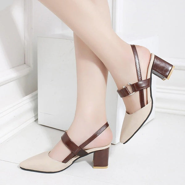 High-heeled shallow mouth pointed baotou Sandals -  AboutTheSHOES