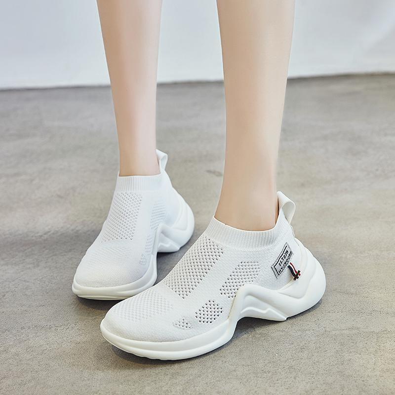 Knit Vamp Breathable Comfortable Slip On Walking Shoes -  AboutTheSHOES