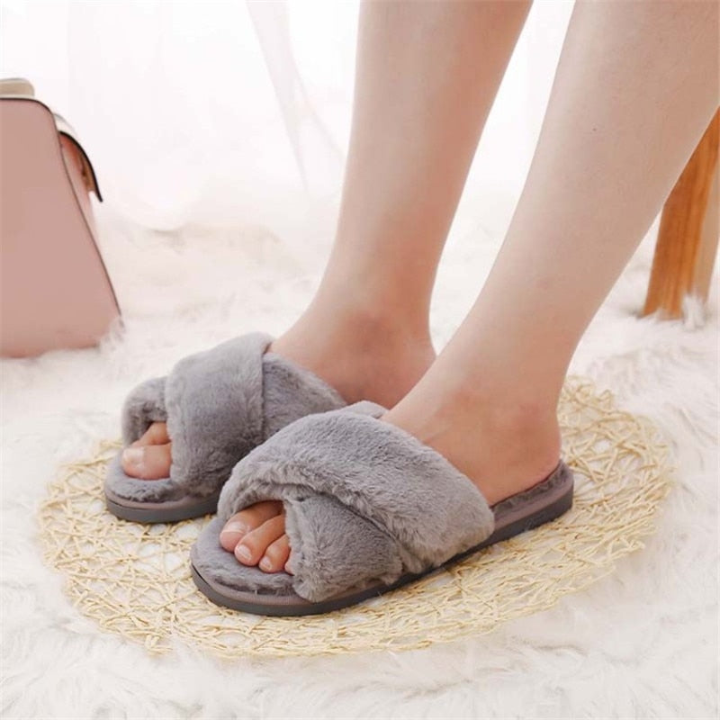 Faux Fur Fashion Warm Woman Slippers -  AboutTheSHOES