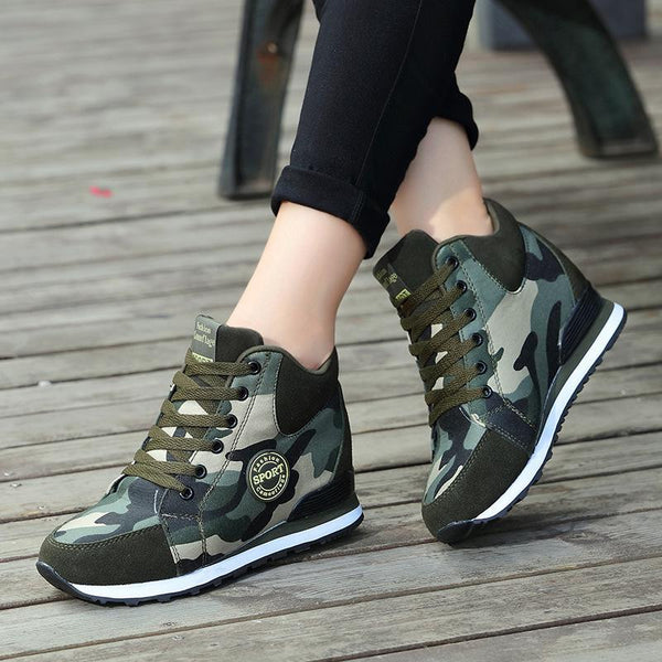 High Heel Platform Camouflage Women Pumps