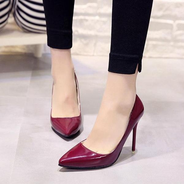 10cm high heel pointed toe Women Pumps -  AboutTheSHOES