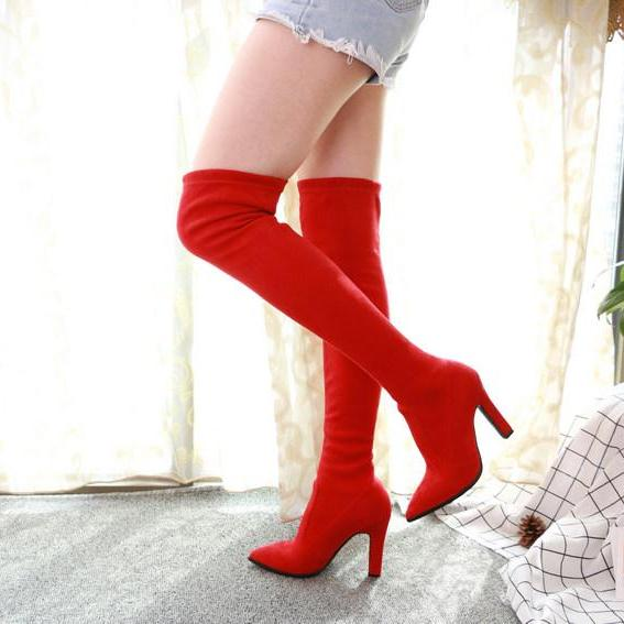 Thin High Heel Pointed To Over The Knee High Boots -  AboutTheSHOES