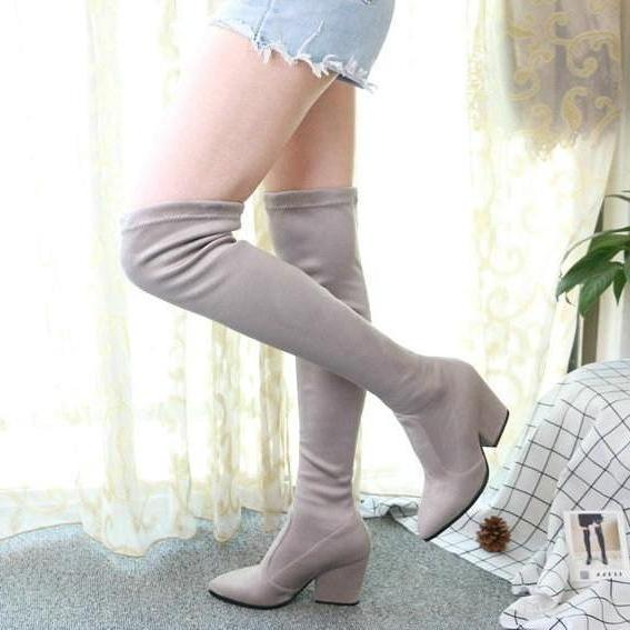 Pointed Toe Sexy Elastic Fabric Over The Knee High Boots -  AboutTheSHOES