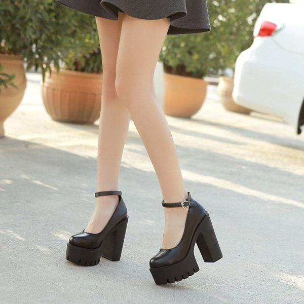 Casual high-heeled thick heels platform pumps -  AboutTheSHOES