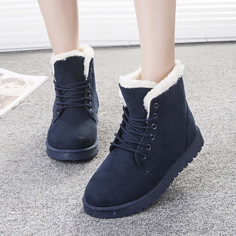 Winter Warm Snow Boots Lace Up Fur Ankle Boots -  AboutTheSHOES
