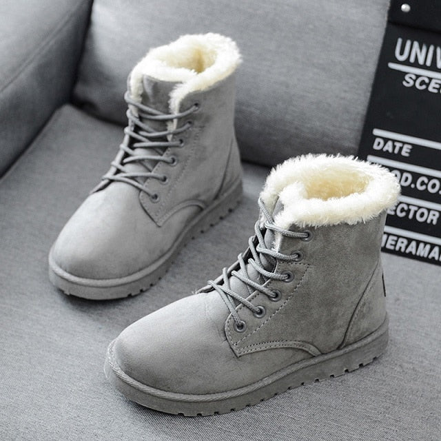 Faux Suede Plush Insole Snow Ankle Boots -  AboutTheSHOES